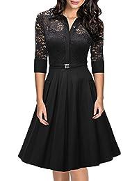 Miusol Damen Spitzen 3/4 Aermel Elegant Revers Cocktailkleid 1950er Jahre Faltenrock Party Kleid Schwarz EU 36-48
