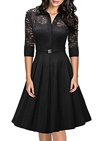 MIUSOL Women's Vintage 1950s Lace Flared 3/4 Sleeve Straight Skirt Swing A Line Shirt Dresses for Women