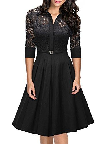 Miusol Damen Spitzen 3/4 Aermel Elegant Revers Cocktailkleid 1950er Jahre Faltenrock Party Kleid Schwarz1 (1950er Jahren Dekoration Halloween)