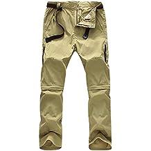 Superora Pantalones Hombres Largo/Corto Impermeable Senderismo Táctico Camuflaje Secado Rápido Fino y Transpirable para