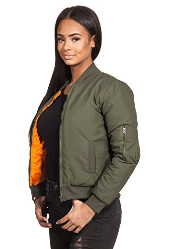 Blouson matelassé pour femme style rétro orange pilotenjacke fliegerjacke doublure loomiloo bJSO motif losanges vert
