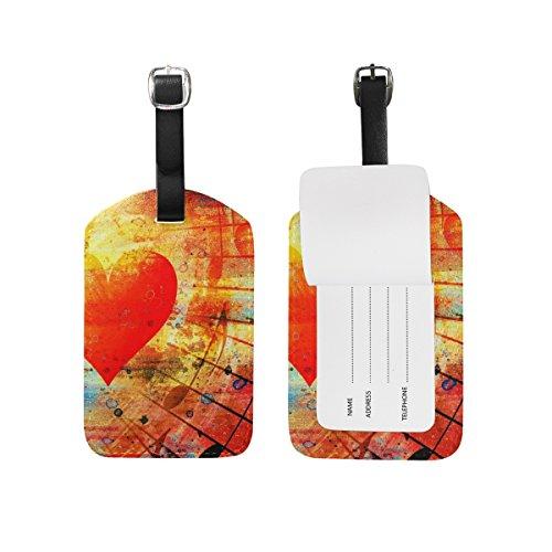 ALAZA Cuori d'epoca e musica Clefs Colorful Etichetta bagaglio pu borsa di pelle Tag valigie di viaggio ID identificativo del bagaglio Etichetta