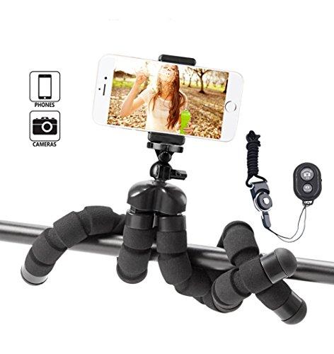 Everesta Mini Flexibel Handy Stativ iPhone Stativ mit Halterung und Bluetooth Fernbedienung für iPhone Samsung Smartphone und Kamera