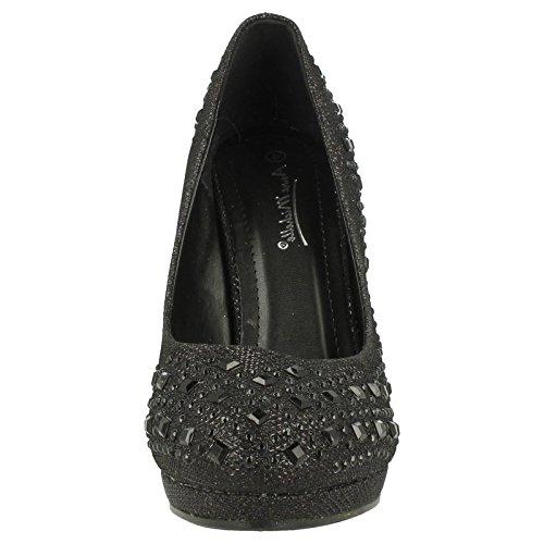 Anne Michelle Femme Piercing cour Chaussures Noir