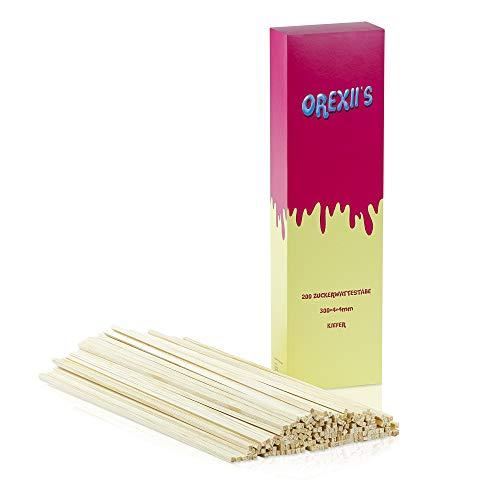 OREXII'S Zuckerwatte Stäbe - 200 Zuckerwattestäbchen 30cm Für Zuckerwattemaschine Zuhause - Splitterfreie Stäbchen Für Zuckerwatte