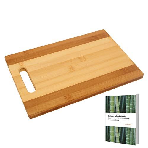 homestuff4you Bambus Schneidebrett mit Griff - Tranchier Küchenbrett Klingenschonend und universell einsetzbar für mehr Freude am Kochen (Bambus, 32x21x2cm)