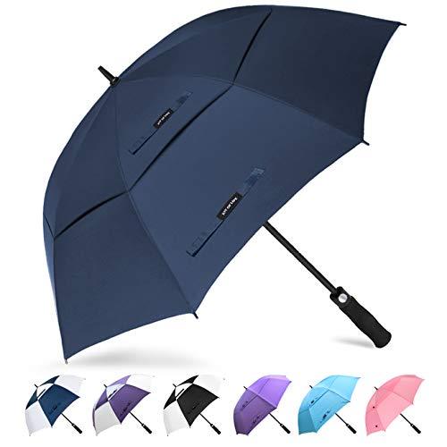 ZOMAKE Golf Regenschirm, Premium Qualität, 157cm Groß, Sturmsicher, Automatik - Automatisch zu öffnen, Regen- und Windresistent Golfschirme(Marineblau)