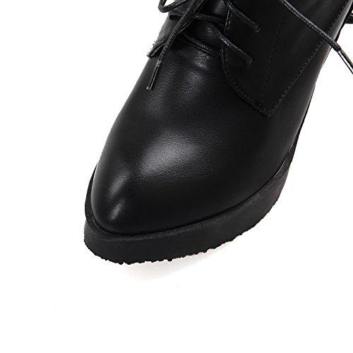 AllhqFashion Femme Pointu Fermeture D'Orteil Lacet Pu Cuir Couleur Unie à Talon Haut Chaussures Légeres Noir