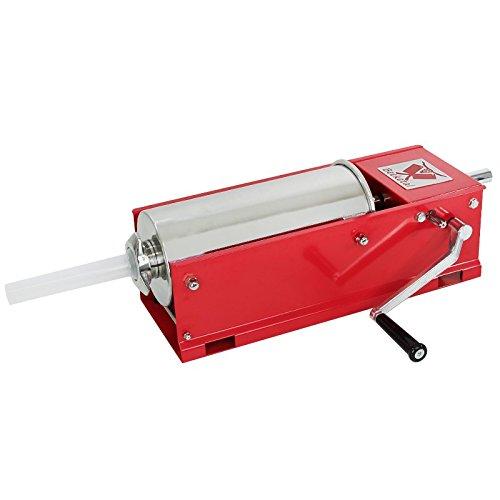 Beeketal \'MTH05\' Profi Gastro Wurstfüllmaschine (5 Liter/horizontal) SGS-geprüft, Wurstfüller mit 2 Gang Vollmetall-Getriebe und Handkurbel, Gehäuse aus Stahl (rot lackiert), inkl. 4 Fülltüllen