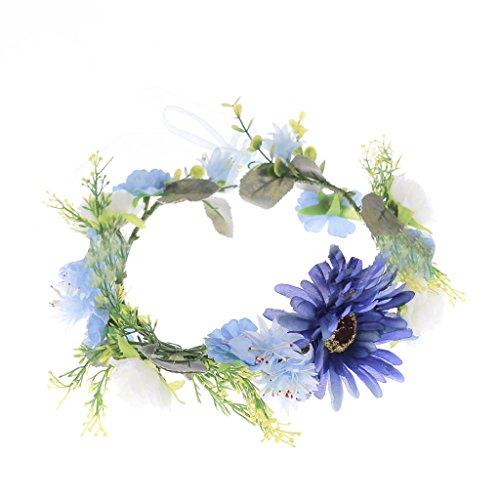 Blumengirlande Sonnenblumen Stirnband Hochzeit Braut Blumenkranz Haarband Zubehör - Blau