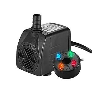 Decdeal – 150L/H 2W Bomba de Agua Sumergible con 4 Leds Luces Ultrasilencioso para Acuario Pecera Fuente de Sobremesa…