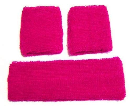 Neon Pink Retro 80's Head & Wrist Sweatband Set