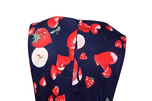Damen A-Linie 50er Vintage Abendkleid Rockabilly Kleid Knielang Festliches Pin Up Kleid Partykleider Cocktailkleider Apple02