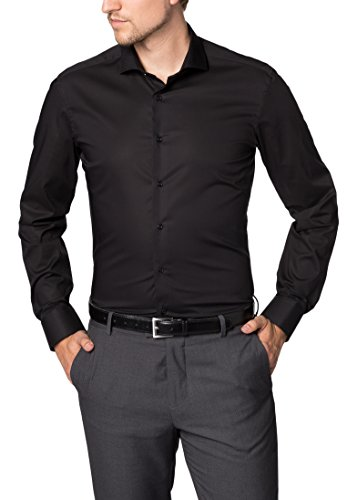 ETERNA  Hemd SLIM FIT Stretch unifarben-Gr. 42, Schwarz