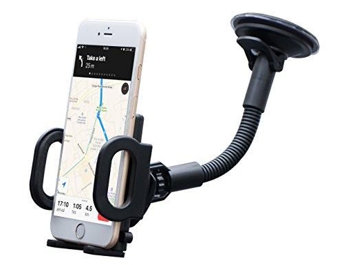 Saugnapf Windschutzscheibe ([Update Version] KFZ Handyhalterung Auto Windschutzscheibe / Armaturenbrett, Universal smartphone halterung mit Gel-Saugnapf und Robuster Schwanenhals für iPhone, Samsung, HTC mit ohne Hülle und GPS Navi (hält Dicke Handy/GPS bis 2,5cm))