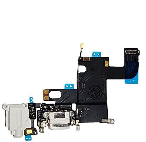 SMARTEX Ladebuchse mit Flex Kabel Kompatibel mit iPhone 6 6G Weiß – Dock Connector mit integrierten Mikrofon, Homebutton, Lautsprecher Anschluss
