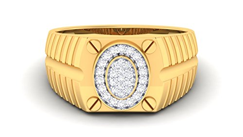 Naitik Jewels 92.5 Sterling Silver 18Kt Yellow Gold Plated Engagement & Wedding Diamond Ring For Men - 14