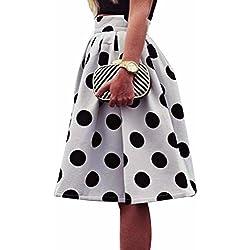 falda mujer Sannysis maxi faldas, falda de lunares, la raya del color (XL)