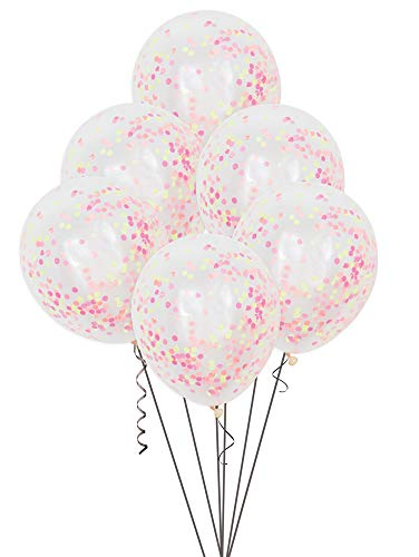 Unique Party Paquete de 6 Globos Confetti, Color neón, 30 cm (54480)