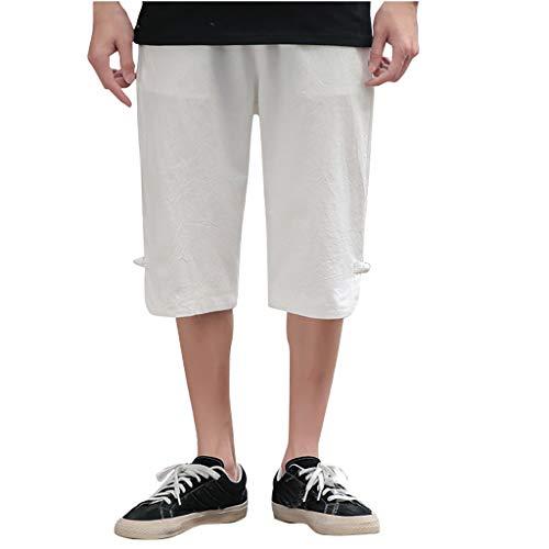 FWQIANGHZI Shorts Herren Sport Herrenhosen Sommer Freizeit Overalls Fashion Multi-Pocket-Hosen Lässige Retro-Kurzhose Baumwolle und Leinen im Chinesischen Stil - Baumwoll-twill Overall