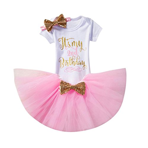 ugeborene Kinder Baby Mädchen Blumen Kleid Kurzschluss Hülsen Oberseiten T-Shirt Tops Kurzarm Geburtstag Party Kleidung Strampler + Rock + Stirnband Set Outfits (2, Rosa) (Halloween-ideen Für Party Lebensmittel)