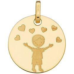 GARÇON COEURS - Médaille ronde Laïque - Or Jaune 18 carats - www.diamants-perles.com