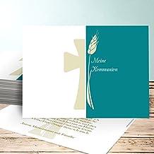 Einladungen Kommunion Selbst Gestalten, Kreuzung 20 Karten, Horizontal  Einfach 148x105 Inkl. Weiße Umschläge
