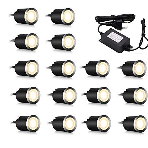 Set di 16 faretti LED da incasso IP67 impermeabili 06 W Ø 32 per esterni terrazze cucine giardino bianco caldo