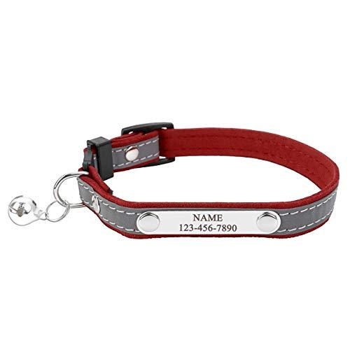 Mogokoyo Collare Riflettente per Gatti Regolabile Personalizzabile in Velluto con Medaglietta Targhetta per l'Incisione e Campanellino Fibbia di Sicurezza Elastico e alla Moda, 20-27cm, Rosso