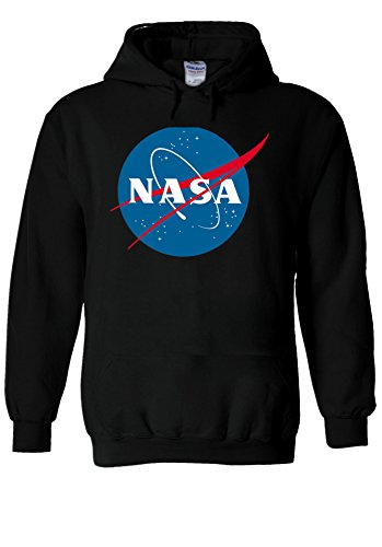 Nasa National Space Administration Logo Black Men Women Unisex Hooded Sweatshirt Hoodie-M