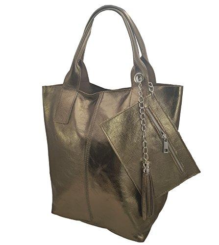 Damen Echtleder Shopper mit Schmucktasche in vielen Farben Schultertasche Henkeltasche Handtasche Metallic look Messing Metallic Reißverschluss
