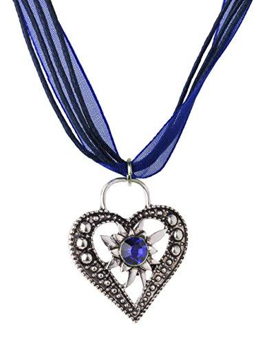 Trachtenkette Wiesnstein eleganter Herz Anhänger mit Strass - Trachtenschmuck Kette für Dirndl und Lederhose (Dunkelblau)