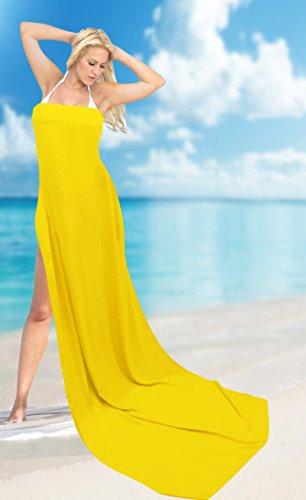 La Leela dolce rayon avvolgere spiaggia solido nappe conchiglie coprire sarong 70x43inch Giallo Tunica