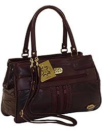 Damen Patchwork Handtasche Vintage Tasche mit zusätzlichem verlängerbaren Henkel Henkeltasche Shopper Schultertasche Umhängetasche 0074