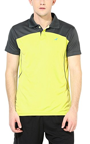 American Crew Sports Polo Collar Dark Grey & Lime Yellow T-Shirt - M (AC535-M)