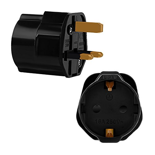 Incutex 1x Reisestecker UK GB England Travel Adapter EU Schuko 2-Pin auf UK 3-Pin Reise Steckdosenadapter Schwarz
