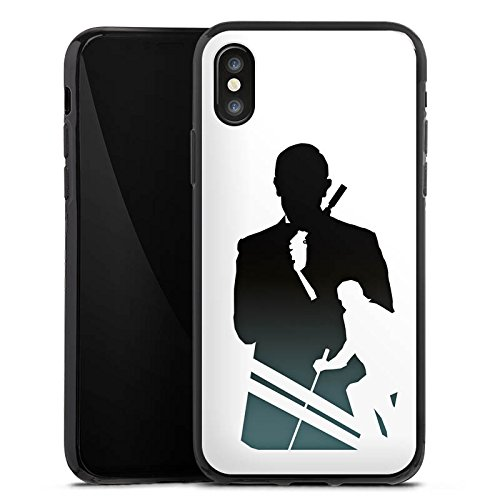Apple iPhone X Silikon Hülle Case Schutzhülle James Bond Filme Silikon Case schwarz