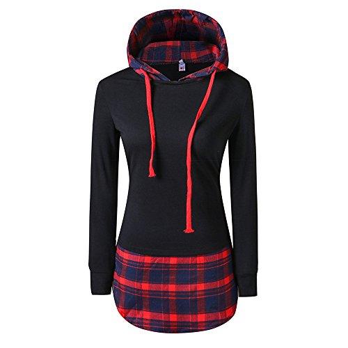 VECDY Damen Pullover,Räumungsverkauf- Herbst Frauen Plaid Stitching Langarm -