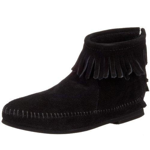 Damen Kleid Zip Stiefel (Minnetonka Back Zip Boot, Damen Kurzschaft Mokassin Boots, Schwarz (Black 9), 40 EU)