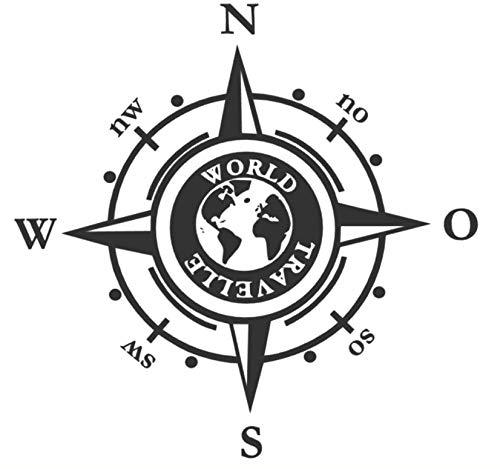 generisch Kompass 20 cm, 30 cm, 40 cm, 50 cm oder in 60 cm erhältlich für Wohnmobil Caravan Auto Aufkleber Kompassrose Windrose World Traveller (205/1) (Schwarz Glanz, 30x30cm)