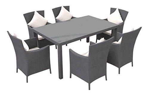 ARTELIA - Ceres M Polyrattan Essgruppe, Gartenmöbel-Set für Garten, Terrasse, Wintergarten und Balkon, Sitzgruppe grau