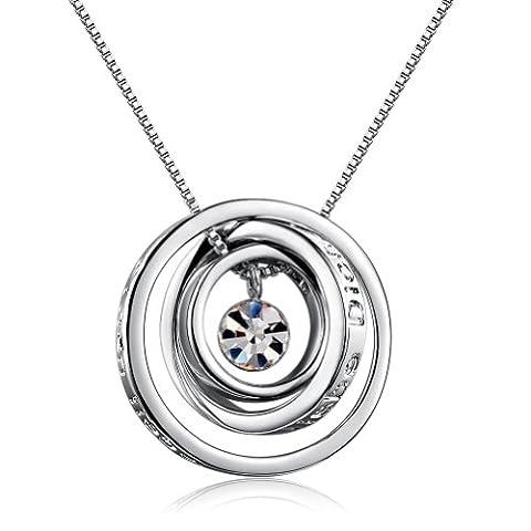 MARENJA Kristall-Damen Kette mit Ring Anhänger Gravu Ich liebe Dich und Einen lieben Kuss für dich Weißgold (Frauen Österreichischen Kristall-ring)