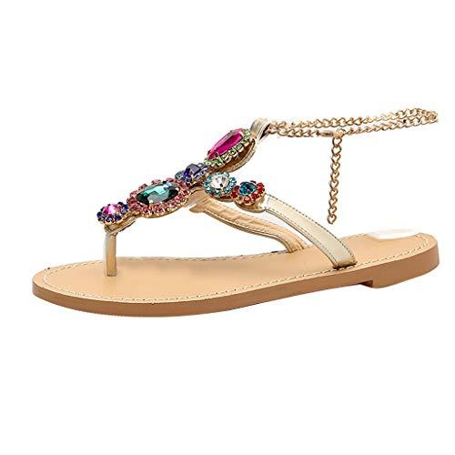 Yesmile Sandales Plates Tropeziennes, Femmes BohêMe Strass ChaîNes Gladiateur Plat Cristal Flip Flops Sandales