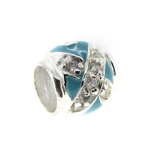 In argento sterling 925, rotondi, con zirconia cubica trasparente e nastro azzurro smaltato con perline per braccialetti europei