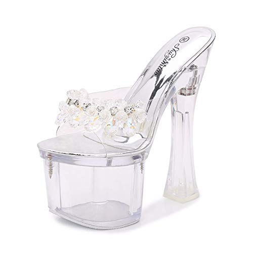 HBDLH Damenschuhe/Hasse Hohen Himmel Dicke Schuhe Schuhe 18Cm Super - High - Heels Cool Und Transparent 38 Die Silbernen