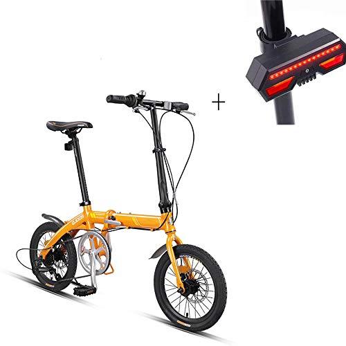 Bicicleta, Bicicleta Plegable, 16 Pulgadas 7 Velocidades, Aleación De Aluminio, Frenos De Disco Mecánicos Delanteros Y Traseros, Neumáticos Antideslizantes, Señal De Giro De Bicicleta De Regalo
