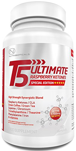 T5 Ultimate® Raspberry Ketones Edition | 1750mg ACTIVE per serving | Advanced Formula with Green Coffee, Green Tea, CLA, Cayenne, Theanine, Chromium, Iron and more | Premium Thermogenic | Appetite Suppressant | Slimming Pills Ultra Potent | GMP Manufactured | 90 Capsules | One Month Supply