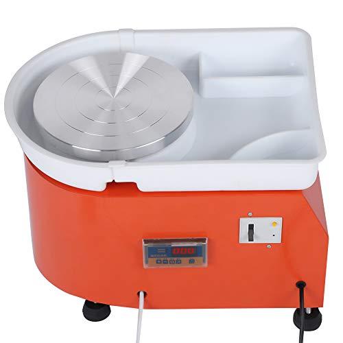 Pottery Wheel, 350W 25cm Ceramica Ruota Macchina per formatura Ceramica Arancione Ceramica elettrica Ruota Ceramica Strumento per modellare Lavabile Lavabo con pedale Vassoio a LED(EU 220V)