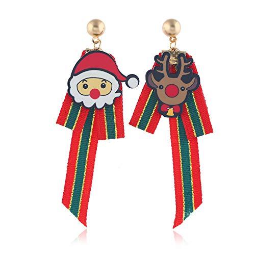 CJMDEH Weihnachtsohrringe,Europäische Und Amerikanische Grenzüberschreitende Mode Elegante Cute Cartoon Alter Mann Kopf Stoff Ohrringe Asymmetrische Santa Claus Ohrringe Frohe Weihnachten -