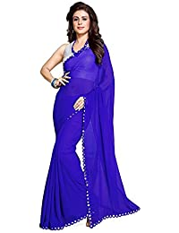Nena Fashion Saree With Blouse Piece Lace Work Georgette Mirror Border With Blouse Piece Saree (Blue)